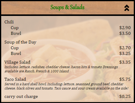 restaurant menu soups and salads section